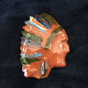 Indian Face Ceramic Pin